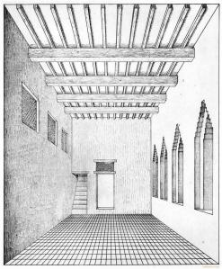 interior room with stair case and ceiling beams