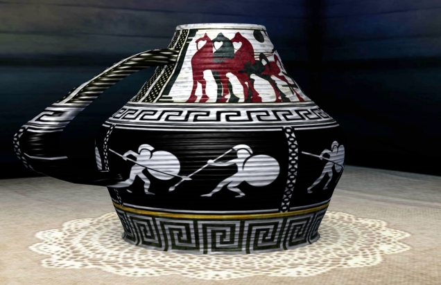 vase with soldiers using spears