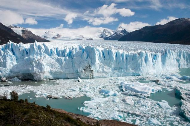Ice calving from the terminus of the Perito Moreno Glacier in western Patagonia, Argentina
