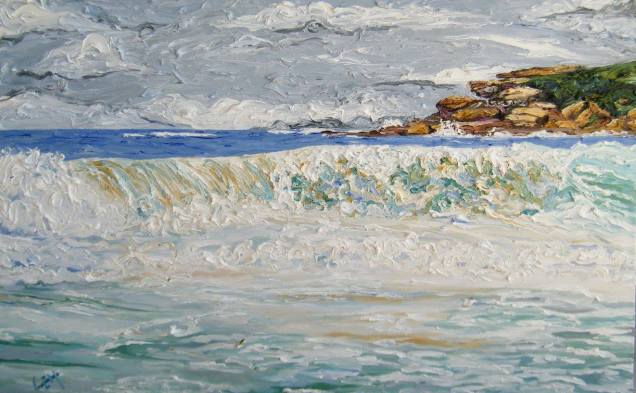 painting of waves and rocks at Maroubra Beach