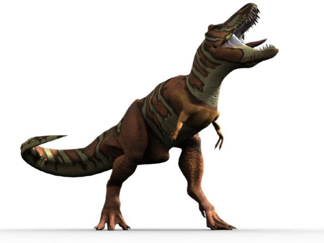 Picture of TRex roaring. He has two fingers. He has three toes with an extra little one coming out the back. HE has sharp teeth and is standing on his legs. His arms are very short.