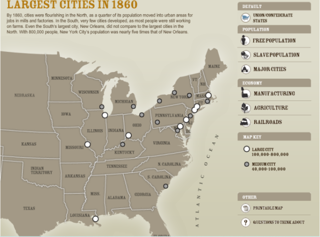 Largest Cities of America in 1860