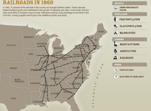 Railroads of America in 1860
