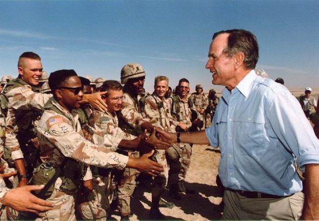 President Bush visiting American troops in Saudi Arabia