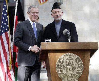 President Bush and PresidentHamid Karzaiof Afghanistan